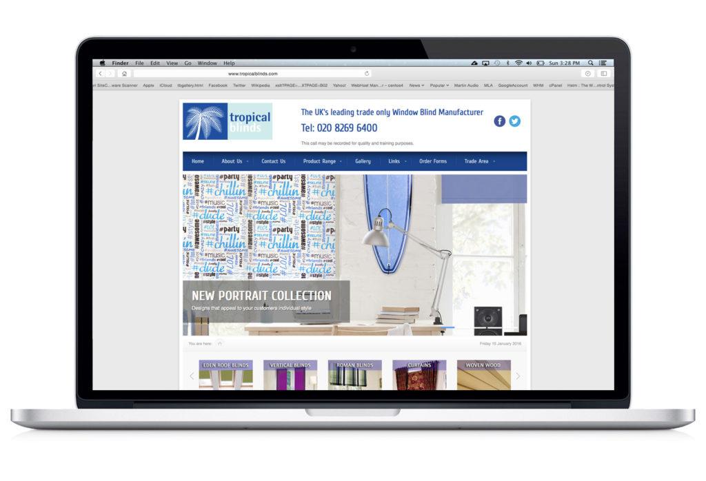 Tropical Blinds - Website design and build
